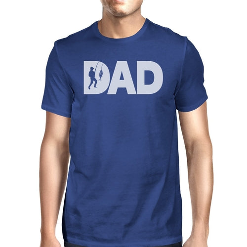 Dad Fish Mens Blue Summer Cotton Tee Funny Fishing