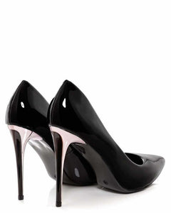 Pink Heel Patent Black High Heel Shoes