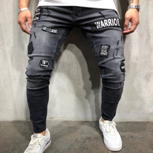 Men's Embroidery Jeans Hip-hop Slim Fashion