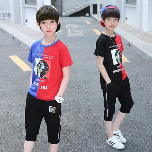 Children/Teen Boys Clothing Set Summer Fashion Patchwork Outfit 4-12 Years