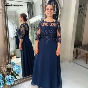 Navy Blue Chiffon Mother of the Bride Dress Plus Size Three Quarter Sleeve A-Line Groom Mother Gowns Wedding Party Dresses