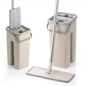 Flat Squeeze Mop and Bucket Hand Free Wringing Floor Cleaning Microfiber Mop Pads Wet or Dry Usage on Hardwood Laminate Tile
