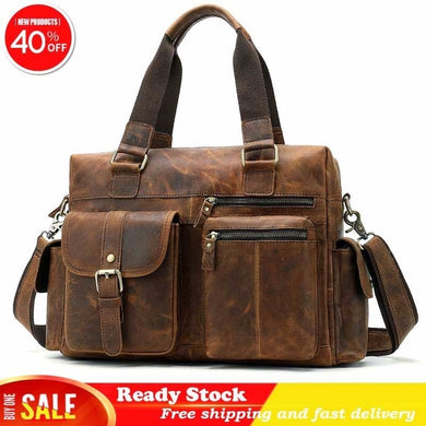 Genuine Leather Men's Briefcase Handbag