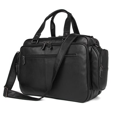 Large Capacity Chocolate Black Genuine Leather Travel Bag
