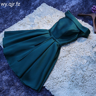 Lace up Boat Neck dark green short Bridesmaid Dresses wedding party prom dress 2019