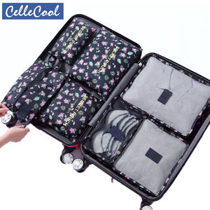Hot sale 7Pcs/set Travel Mesh Bag In Bag Trip Clothes Finishing Kit Luggage Organizer Accessories Storage Bag Cosmetic toiletrie