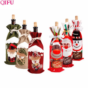 Santa Claus Wine Bottle Cover Merry Christmas Decorations