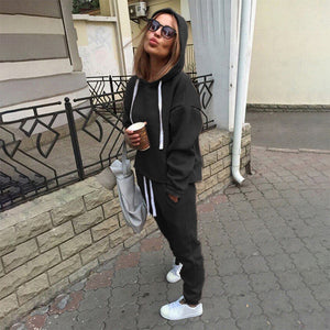 2 pc Sets Casual Hooded Tops Sweatshirt+Solid Long Pants Suits