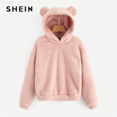 Preppy Lovely With Bears Ears Solid Teddy Hoodie Pullovers