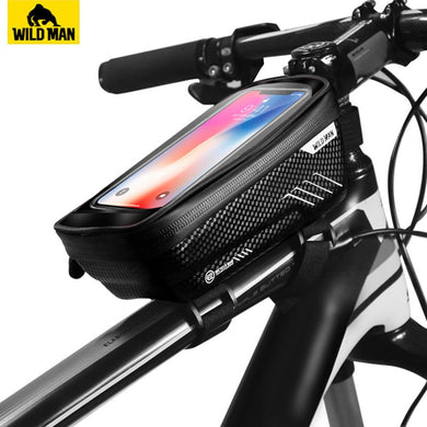 WILD MAN Mountain Bike Bag Rainproof Waterproof Mtb Front Bag 6.2inch Mobile Phone Case Bicycle Top Tube Bag Cycling Accessories