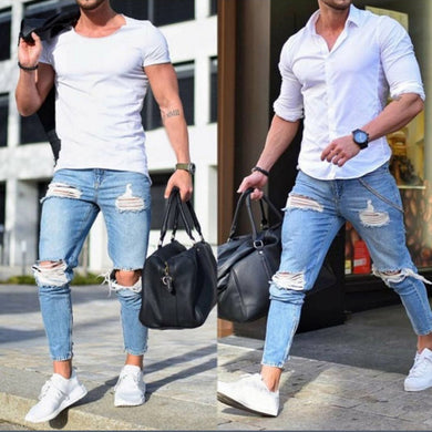 Men's Casual Long Pencil Pants Ripped Jeans