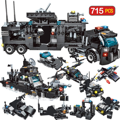 715 pc City Police Station Building Blocks