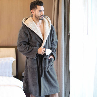 2019 New Winter Men Bathrobes Hooded Flannel Long Bath Robe Male Comfort Gray Long Home Warm Dressing Gown Vs Tmall