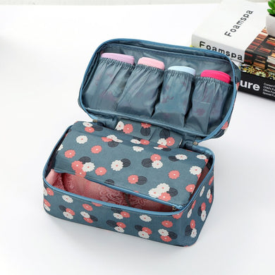 Fashion Travel Double Zipper Women Lingerie Bag Underwear Clothes Bra Organizer Cosmetic Makeup Pouch Case