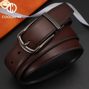 Men's Genuine Leather Belt Reversible Buckle Brown & Black