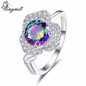 Round Cut Cluster Multi-color/White Cubic Zircon Silver 925 Ring