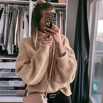 Khaki Turtleneck Women Sweater Knitted Loose Fashion Pullover