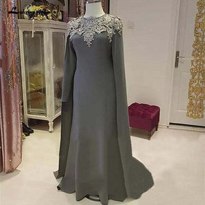 Women Mother Of The Bride Dresses Cape Long Sleeves Appliques