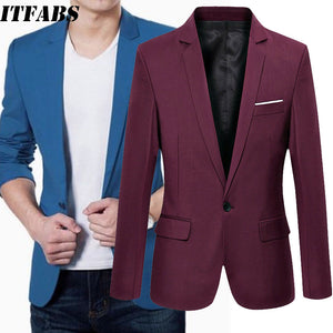 Men's Casual Blazer Slim Fitness Formal One Button Suit M-3XL