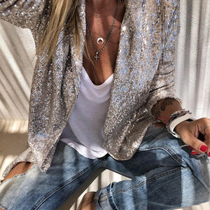 Sequins Long Sleeved Blazers Fashion Women Shiny Party Blazer Coat