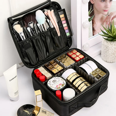 Cosmetic Bag Toiletry Organizer Six Partition Women Travel Make Up Case
