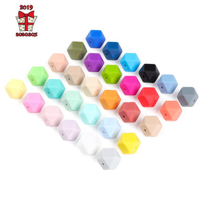 10 pcs Hexagon Silicone 14mm Food Grade Baby Teether