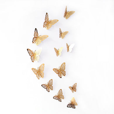 12 Pcs/Set 3D Wall Stickers Hollow Butterfly Decorations