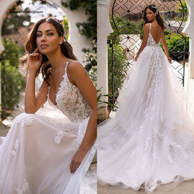 Country Wedding Dresses Sexy Bridal Dress Lace Appliques