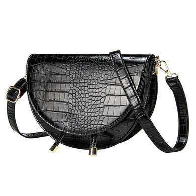 Crocodile Pattern Crossbody Bags for Women Half Round