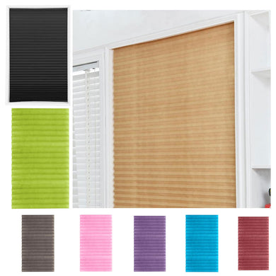 Self-Adhesive Pleated Blinds Curtains Half Blackout