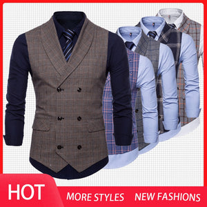Tweed Suit Vest Plaid Sleeveless for Men