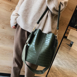 Vintage leather Stone Pattern Crossbody Bags For Women