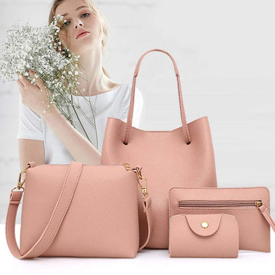 4Pcs Women Pattern Leather Handbag