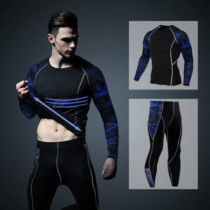 Men's Thermal Set Long Sleeve Fitness Tights