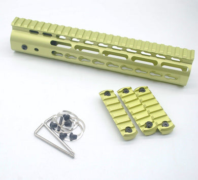 10'' inch Unique Grass Green Keymod Handguard Rail Free Float Picatinny Mount System Rail Sections Fit AR-15/.223/5.56