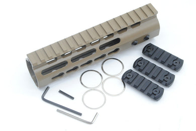 Lightweight 7 inch Tan Keymod Handguard Rail System One-piece for AR-15/M4/M16 With 3 x 5 Slots Black Rail Sections