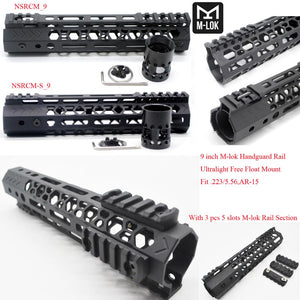 9'' inch Ultralight M-lok Handguard Rail Free Float Mount System