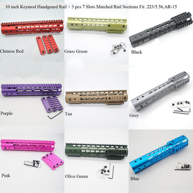 10'' inch Keymod Handguard Rail Free Float Mount System With 3 pcs Matched Color Picatinny Sections Fit .223/5.56, AR-15