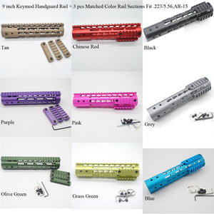 9'' inch Keymod Handguard Rail Free Float Mount System With 3 pcs Matched 9 Colors Picatinny Sections Fit .223/5.56, AR-15