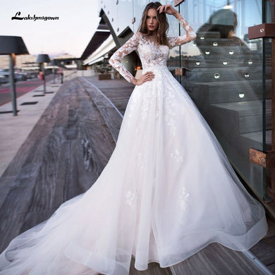 Elegant Long Sleeve Bridal Dress Lace Tulle Wedding Gowns