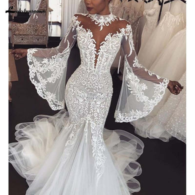 Wedding Dress Long Sleeve High Neck Illusion Gowns