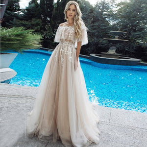 Champagne Tulle Dress Wedding Summer Bridal Gowns