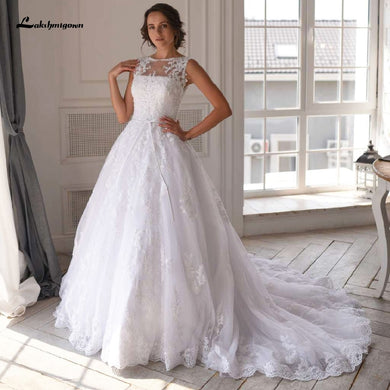 Luxury White Tulle Wedding Dress Lace Beading Bridal Gowns