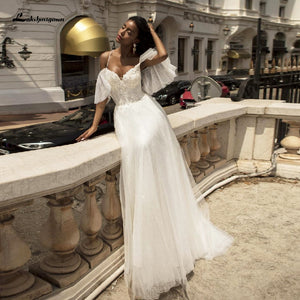 Tulle Wedding Dress Sexy Bridal Dresses Lace Beaded