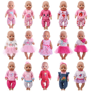 Doll Unicorn Clothes 15 Sets T-Shirt+Skirt/Pants Dress Fits 18 Inch Doll`s