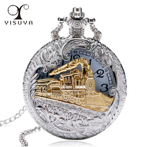 Train Locomotive Engine Pattern Hollow Cover Pocket Watch