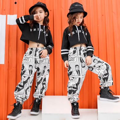 Girls Sport Suits Fashion Black Crop Top/Pants 2pc Outfits 4-18 Y
