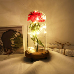 Red Rose In A Glass Dome Wooden Base LED Fairy Lights