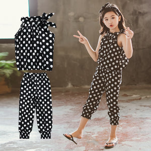 Girls Suit Cotton Dot Sleeveless Tops+Pants 2pc 4-12 Years