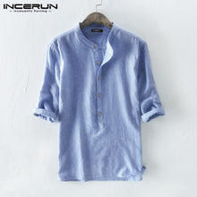 Men's/Teens Shirt Striped Cotton Breathable 3/4 Sleeve Stand Collar